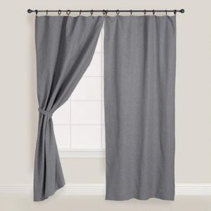 World Market 2 Gray Curtains with Wood Rings